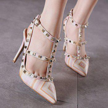 Sweet Color Block and Rivets Design Pumps For Women - 38 38