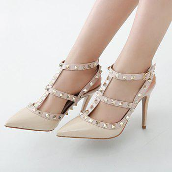 Fashionable PU Leather and Rivets Design Pumps For Women - 38 38