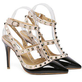 Fashionable PU Leather and Rivets Design Pumps For Women - 37 37