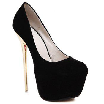Fashion Flock and Metallic Heels Design Pumps For Women - BLACK 34