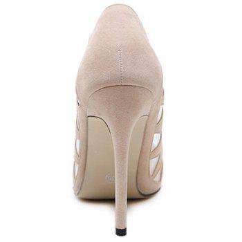 Sexy Flock and Hollow Out Design Pumps For Women - 37 37