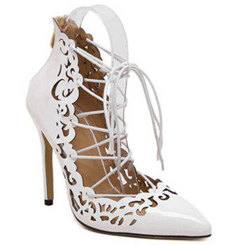 Elegant Hollow Out and Lace-Up Design Pumps For Women - WHITE 36