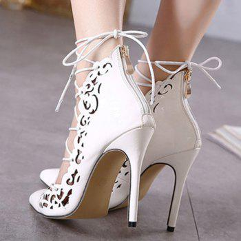Elegant Hollow Out and Lace-Up Design Pumps For Women - 36 36