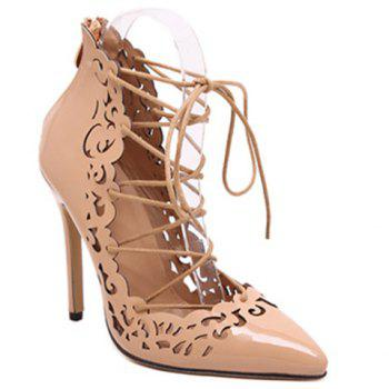 Elegant Hollow Out and Lace-Up Design Pumps For Women - APRICOT 36