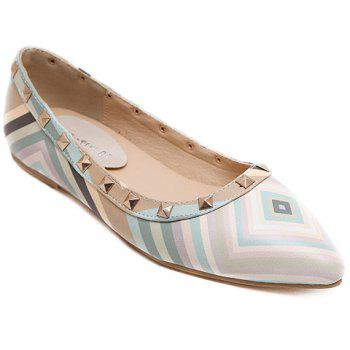 Fresh Style Color Block and Rivets Design Flat Shoes For Women - LIGHT BLUE 38