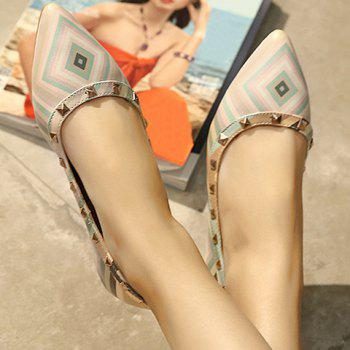 Fresh Style Color Block and Rivets Design Flat Shoes For Women - 38 38