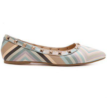 Fresh Style Color Block and Rivets Design Flat Shoes For Women - 39 39