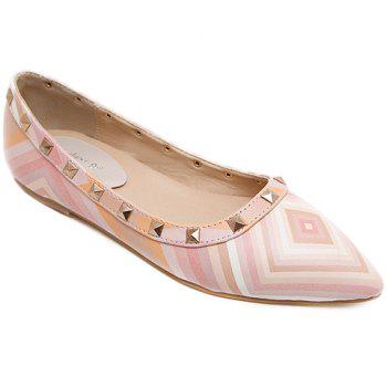 Fresh Style Color Block and Rivets Design Flat Shoes For Women - PINK PINK