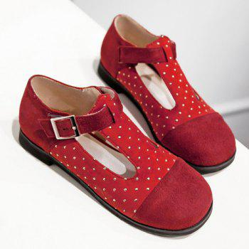 Casual Suede and T-Strap Design Women's Flat Shoes - 38 38
