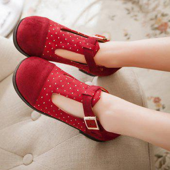 Casual Suede and T-Strap Design Women's Flat Shoes - 39 39