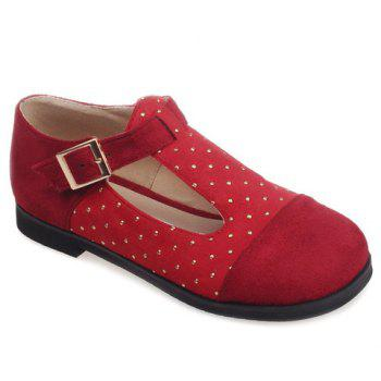 Casual Suede and T-Strap Design Women's Flat Shoes - RED 39