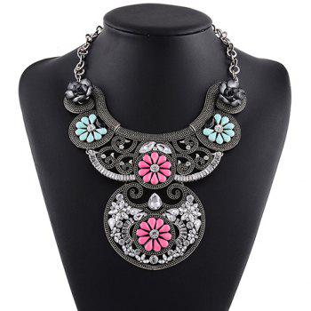 Faux Crystal Floral Necklace