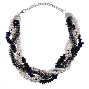 Faux Pearl Beads Necklace - BLUE