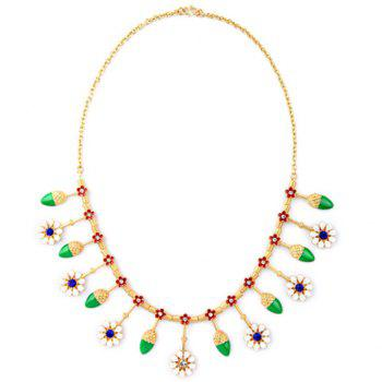 Exquisite Glaze Flower Rhinestone Necklace For Women