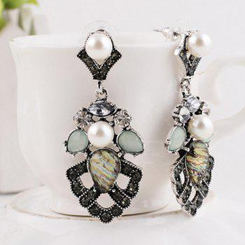 Pair of Geometric Faux Pearl Hollow Out Earrings - WHITE