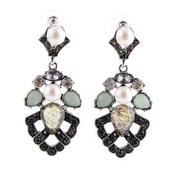 Pair of Geometric Faux Pearl Hollow Out Earrings