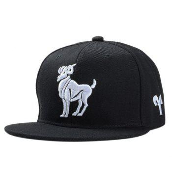 Stylish White Sheep Embroidery Men's Black Baseball Cap