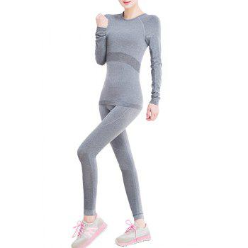 Active Women's Round Neck Gray Long Sleeve T-Shirt and Leggings Twinset