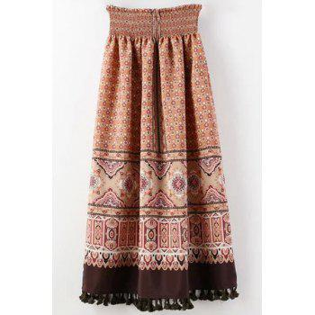 Stylish High-Waist Retro Tassels Chiffon Women's Skirt