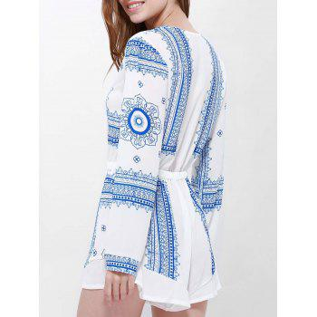 Long Sleeve Printed Buttoned Playsuit - BLUE/WHITE S
