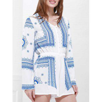 Long Sleeve Printed Buttoned Playsuit - BLUE/WHITE XL