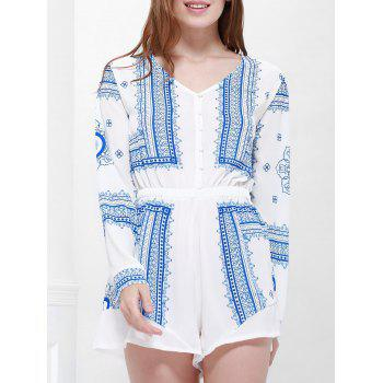 Long Sleeve Printed Buttoned Playsuit