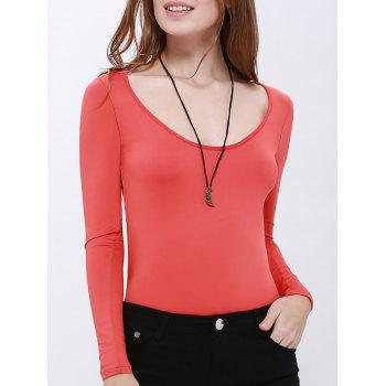 Sexy Scoop Neck Long Sleeve Hollow Back Women's Bodysuit - RED M