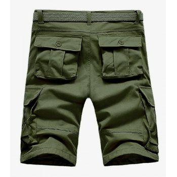 Loose Fit Straight Leg Solid Color Multi-Pocket Zipper Fly Men's Cargo Shorts - ARMY GREEN ARMY GREEN