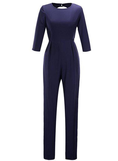 Stylish Women's Jewel Neck 3/4 Sleeve Backless Jumpsuit - PURPLISH BLUE 2XL
