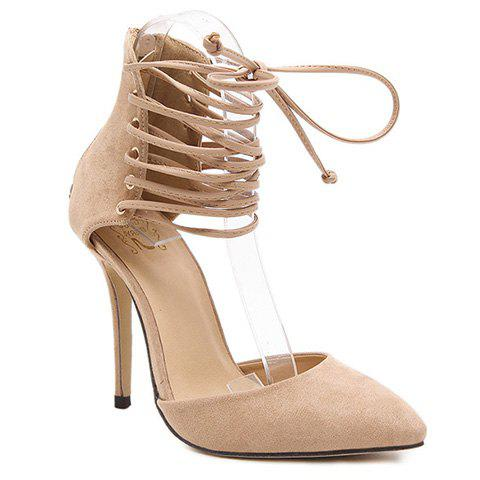 Fashionable Tie Up and Suede Design Pumps For Women - APRICOT 36