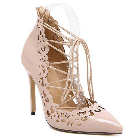 Elegant Hollow Out and Lace-Up Design Pumps For Women - NUDE 37