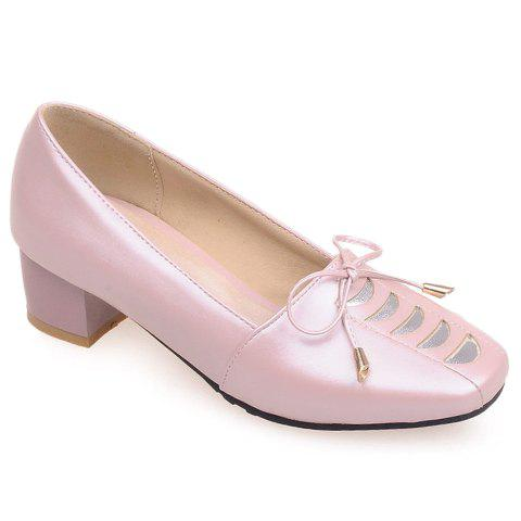 Stylish PU Leather and Square Toe Design Women's Pumps - PINK 38
