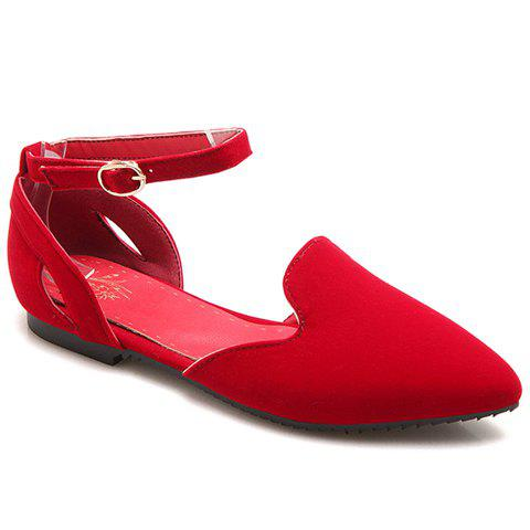 Leisure Solid Colour and Flock Design Women's Flat Shoes - RED 36