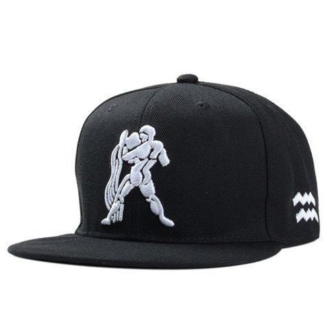 Stylish Strong Man Embroidery Men's Black Baseball Cap - BLACK