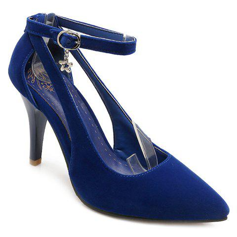 Trendy Ankle Strap and Hollow Out Design Women's Pumps - BLUE 37