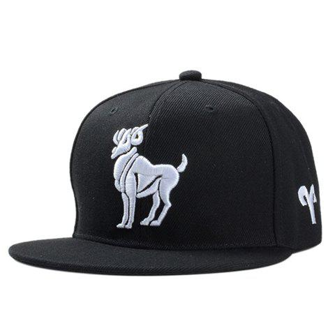Stylish White Sheep Embroidery Black Baseball Cap For Men