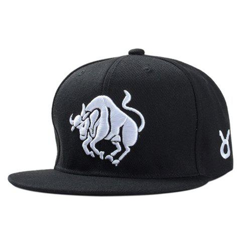Stylish White Ox Embroidery Black Baseball Cap For Men - BLACK