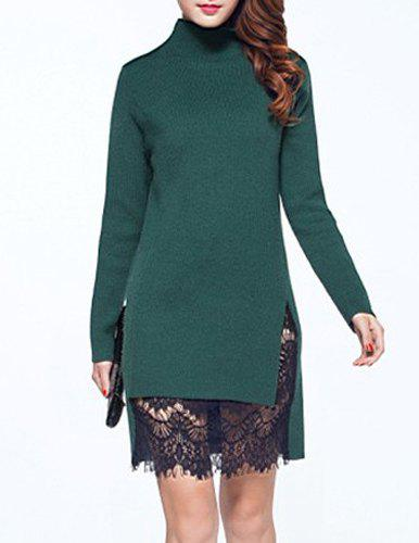 Ladylike Women's Turtle Neck Lace Spliced Long Sleeve Dress - GREEN ONE SIZE(FIT SIZE XS TO M)