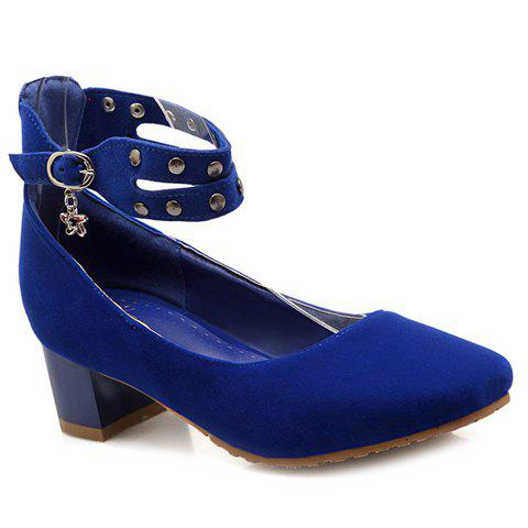 Fashionable Metal and Square Toe Design Women's Pumps - BLUE 39