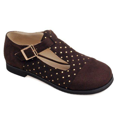 Casual Suede and T-Strap Design Women's Flat Shoes - DEEP BROWN 38