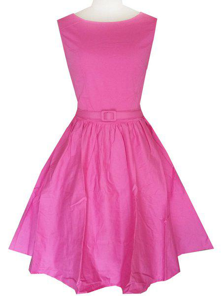 Retro Style Round Neck Sleeveless Solid Color Belted Women's Ball Gown Dress - ROSE L