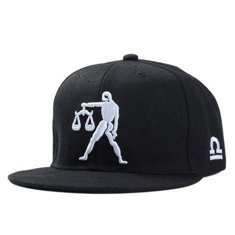 Stylish Man and Balance Scales Embroidery Men's Black Baseball Cap - BLACK