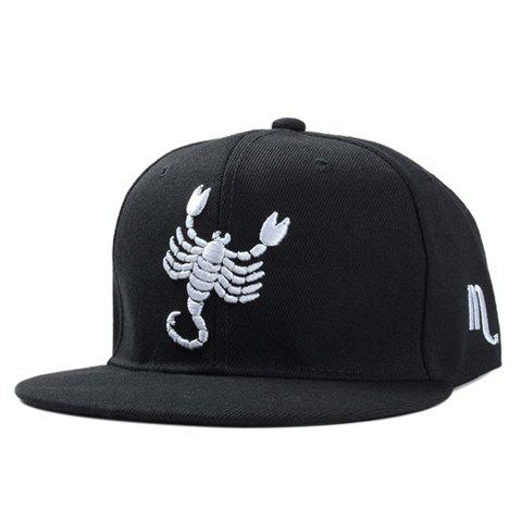 Stylish White Scorpion Embroidery Black Baseball Cap For Men