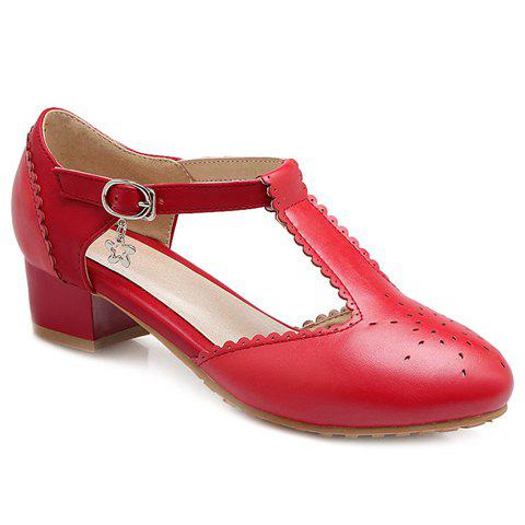Casual T-Strap and Engraving Design Womens Flat ShoesShoes<br><br><br>Size: 39<br>Color: RED