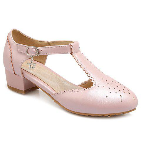Casual T-Strap and Engraving Design Women's Flat Shoes - PINK 38