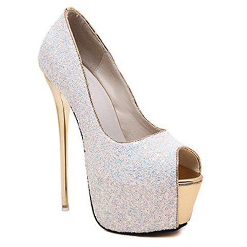 Sexy Sequins and Slip-On Design Peep Toe Shoes For Women - WHITE 38