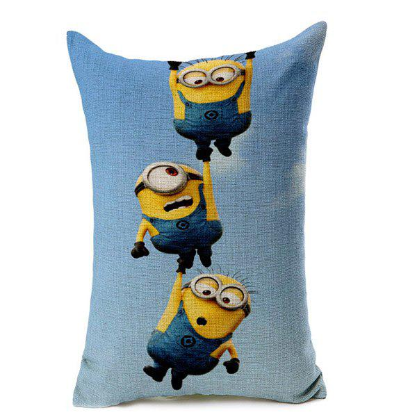 High Quality Colorful Minions Pattern Cotton Linen Waist Pillow Case(Without Pillow Inner)