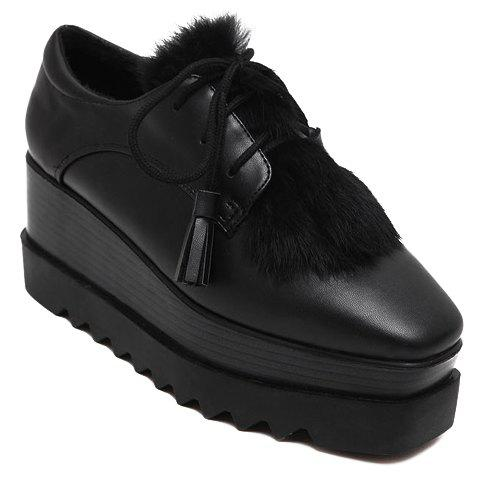 Trendy PU Leather and Lace-Up Design Platform Shoes For Women - 37 BLACK