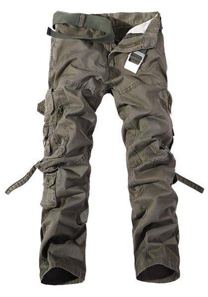 Loose Fit Multi-Pocket Solid Color Zipper Fly Straight Leg Men's Cargo Pants - DARK KHAKI 34