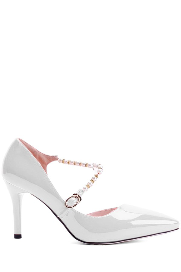 Elegant Beading and Stiletto Heel Design Pumps For Women - WHITE 34
